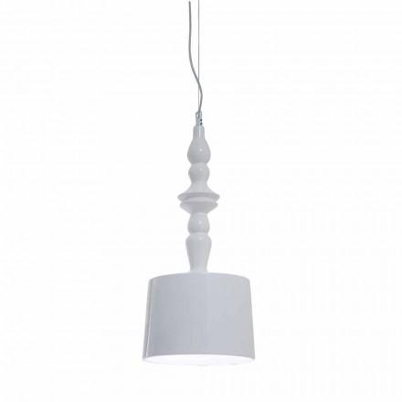 Suspension lampeskærm kort i hvid blank keramisk design - Cadabra