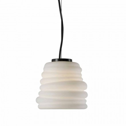 Ophængslampe i hvidt satinglas 3 dimensioner - blød