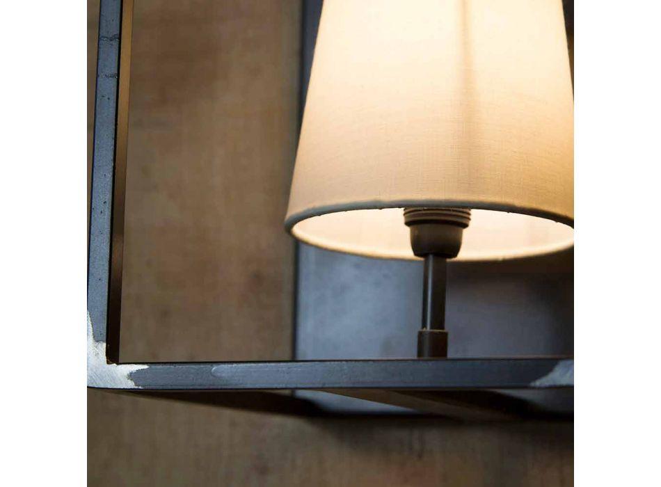 Artisan væglampe i sort jern med 2 lampeskærme fremstillet i Italien - tårn