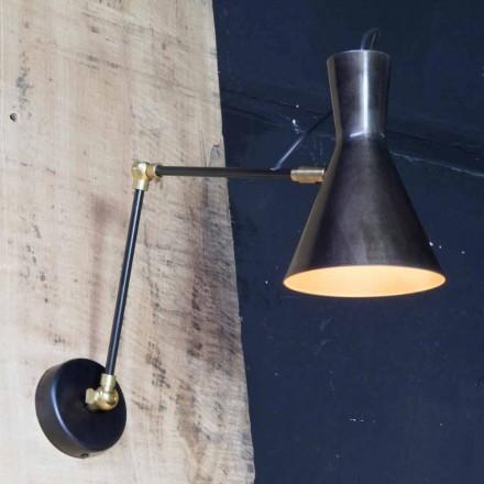 Håndlavet jernlampe med aluminiumskærm Fremstillet i Italien - Selina