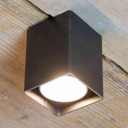 Håndværkerlampe i sort jern med kubisk form fremstillet i Italien - Cubino