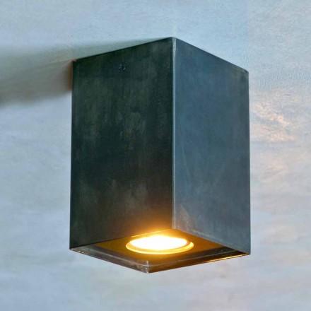 Kubisk lampe i sort jern med frostsvejsninger lavet i Italien - Cubino