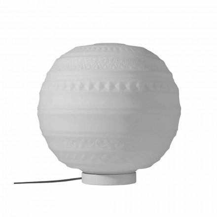 Bordlampe i hvidt satinglas og metal moderne design - Morse