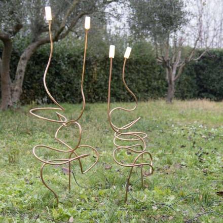 Udendørslampe i naturligt kobber med dekorativt glas fremstillet i Italien - Fusillo