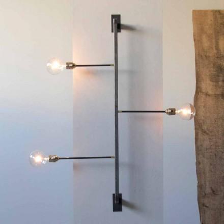 Design væglampe med sort jernkonstruktion fremstillet i Italien - Anima