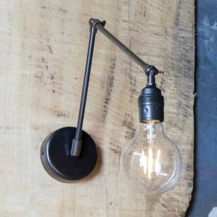 Håndlavet væglampe i justerbart sort jern Made in Italy - Ander