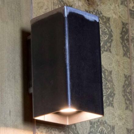 Håndlavet firkantet væglampe i sort jern fremstillet i Italien - Cubino