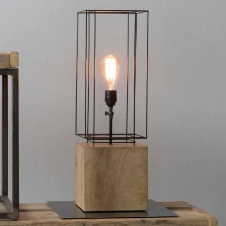 Håndlavet jernbordslampe med træbund lavet i Italien - oliventræ