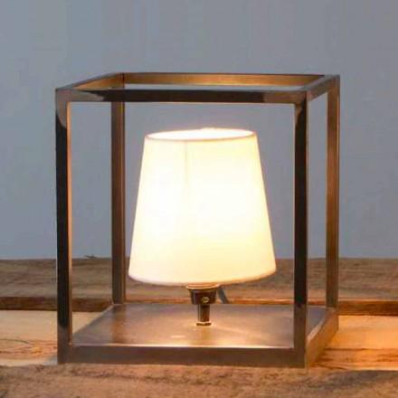Håndlavet bordlampe af jern med lampeskærm Made in Italy - Cubola