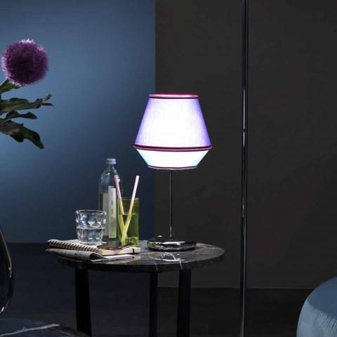 Blå bordlampe med forkromet metalstruktur fremstillet i Italien - Soja