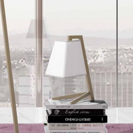 Bordlampe med struktur i metal og stof fremstillet i Italien - Barton