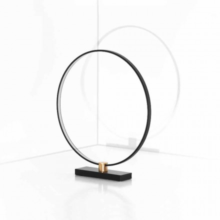 Design bordlampe i sort aluminium og messing fremstillet i Italien - Norma