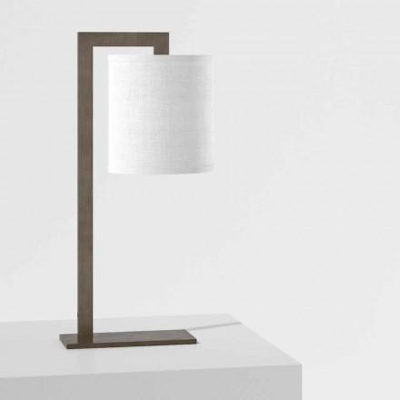 Design bordlampe i metal og hvid linned Made in Italy - Bali