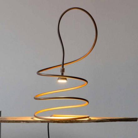 Design bordlampe i kobberbrændt effekt fremstillet i Italien - Fusillo