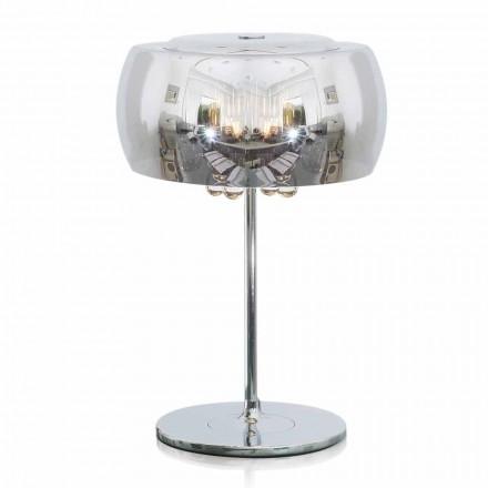 Design bordlampe i glas, krystal og forkromet metal - Cambria