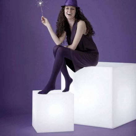 Hvidt bord / gulvlampe Slide Cubo, lavet i Italien