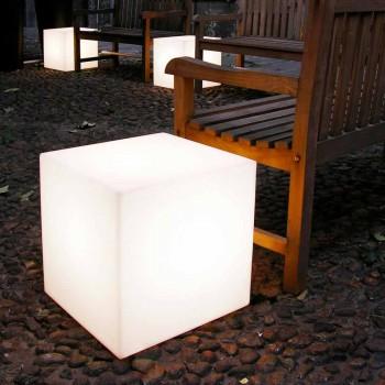 Bord og gulvlampe Slide Hvid lyse terning lavet i Italien