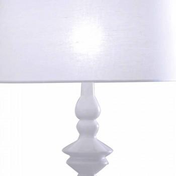 Bordlampe i hvid keramik- og linnedskærm 2 dimensioner - Cadabra