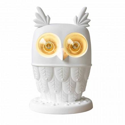 Bordlampe i mat hvid keramik 2 lys moderne design ugle - ugle
