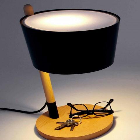 Bordlampe i bøg med detaljer i metal og vegansk læder - Avetta