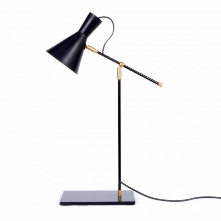 Bordlampe i jern og aluminium, mat sort farve Fremstillet i Italien - Malita