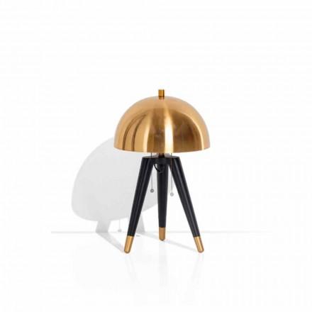 Bordlampe i sort metal og børstet messing Made in Italy - Peter
