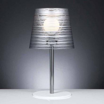 Moderne bordlampe med sølv dekoration, diameter 30 cm, SHANA