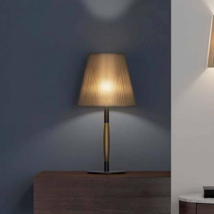 Moderne bordlampe i metal, træ og organza fremstillet i Italien - bom