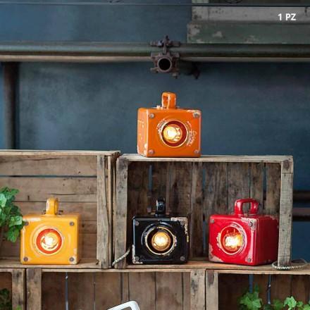 Industriel stil bordlampe i keramik og jern Valerie