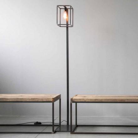 Gulvlampe med håndværksfarvet jernstruktur lavet i Italien - Cubola