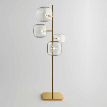 Design gulvlampe med skinnende metalstruktur fremstillet i Italien - Donatina