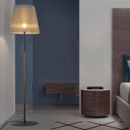 Design gulvlampe i metal, træ og organza fremstillet i Italien - bom