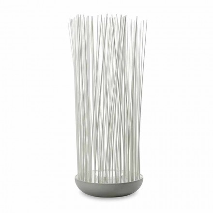 Led gulvlampe i grå technopolymer og hvide pvc-stænger - berøring
