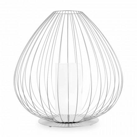 Gulv- eller støttelampe i hvid eller bronzetråd - lanterne