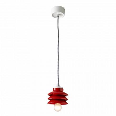Design vedhængslampe i rød keramik lavet i Italien Asien