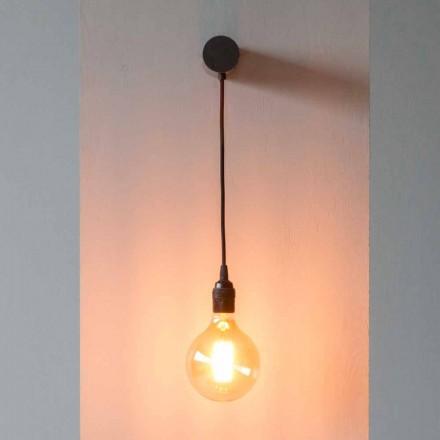 Designlampe i sort jern med bomuldskabel fremstillet i Italien - Cladia
