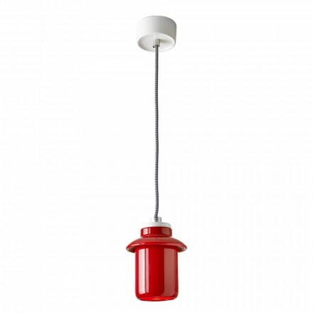 Design lampe suspenderet i rød keramik lavet i Italien Asien