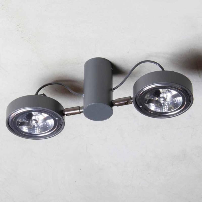 Aluminiumslampe med 2 justerbare lys håndlavet lavet i Italien - Gemina