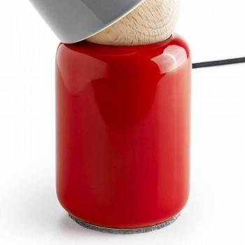 Moderne bordlampe lavet af keramik og bøg træ lavet i Italien Asien