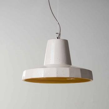 Suspenderet lampe 30 cm, i messing og toskanske majolica, Rossi Toscot