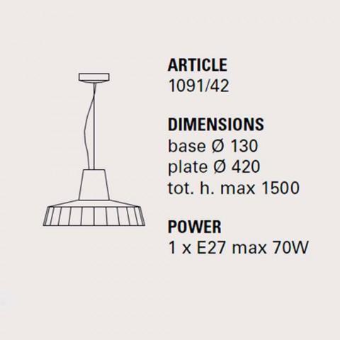 Hængelampe 42 cm i messing og toskanske majolica Rossi - Toscot