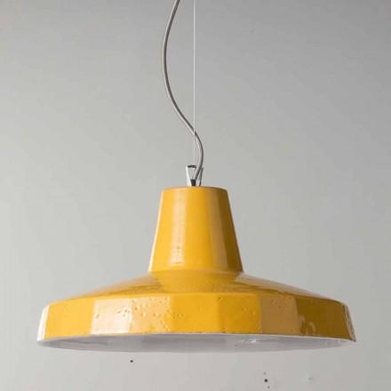 42cm vedhæng lampe i messing og tuscan maiolica Rossi - Toscot