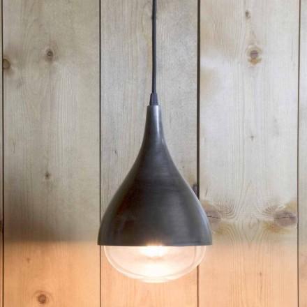 Håndlavet hængende lampe i aluminium og sort bomuld fremstillet i Italien - Sissa