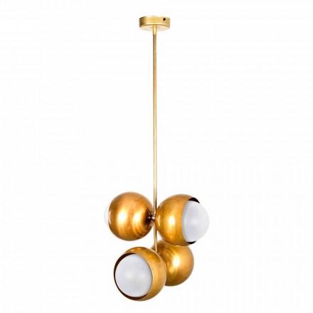 Håndlavet hængende lampe i naturligt messing og glas fremstillet i Italien - Gandia