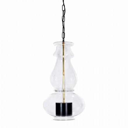 Håndlavet hængende lampe i blæst glas og messing fremstillet i Italien - Vitrea