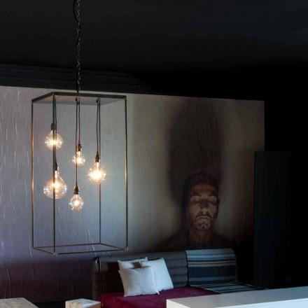 Hængende lampe med håndlavet jernkonstruktion fremstillet i Italien - Cosma