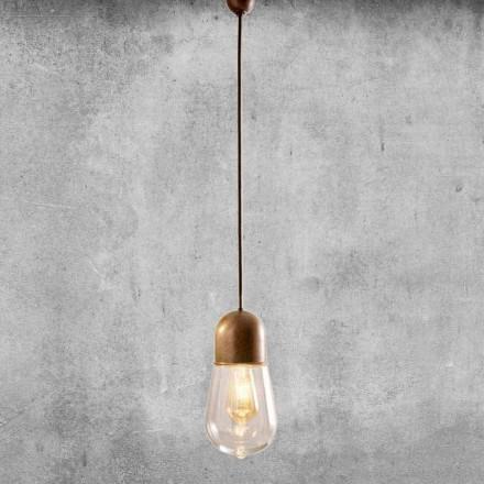 Vintage design hængende lampe i messing og glas - Aldo Bernardi Guinguette