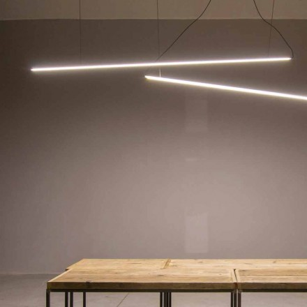 Hængende lampe håndlavet i aluminium med LED-bjælke fremstillet i Italien - Ledda