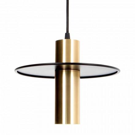 Håndlavet hængende lampe i jern og messing med LED Made in Italy - Astio