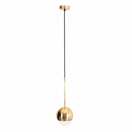 Håndlavet hængende lampe i messing og dekorativt glas fremstillet i Italien - Gandia